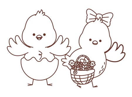 Happy  farm animals chicks pair wearing eggshell carrying wicker basket easter season drawing black and white outline vector illustration graphic design