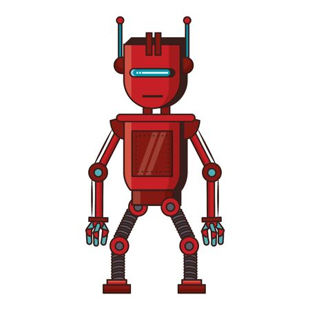 Robot funny character cartoon isolated vector illustration graphic design