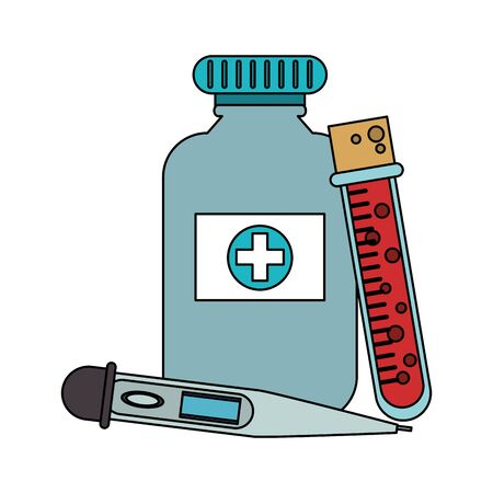 Medical healthcare supplies medicine bottle bloos test and glucometer vector illustration graphic design