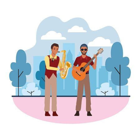 musician playing saxophone and guitar avatar cartoon character in the park cityscape skyscraper vector illustration graphic design