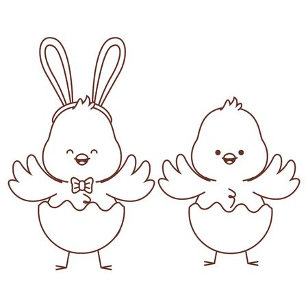 Happy  farm animals chicks pair wearing eggshell easter season drawing black and white outline vector illustration graphic design Çizim