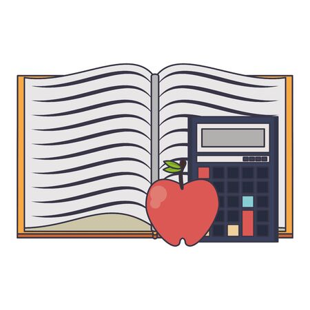 Education and school supplies book apple and calculator cartoons vector illustration graphic design