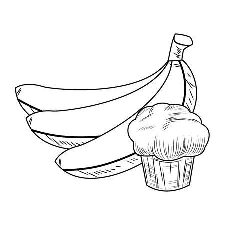 Frisches Obst Ernährung gesunde gruppierte Bananen und Muffin Schwarz-Weiß-Zeichnung Fitness-Diät-Optionen Vektorgrafik-Grafikdesign