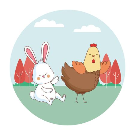 Happy farm animals hen white bunny easter season drawing on grass with trees round icon scenery vector illustration graphic design