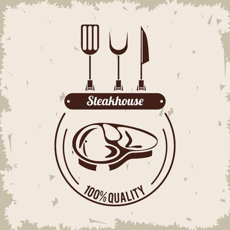 Steakhouse restaurant grunge poster