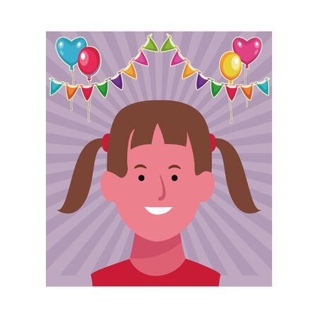 Girl smiling face cartoon over birthday party background with pennants and balloons vector illustration graphic design Vetores
