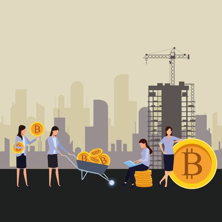 businesswomen holding cryptocurrency bitcoin with wheelbarrow and laptop construction zone vector illustration graphic design Illustration