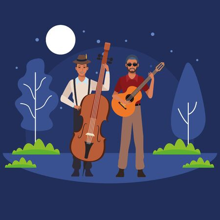 musician playing bass and guitar avatar cartoon character in the park at night vector illustration graphic design