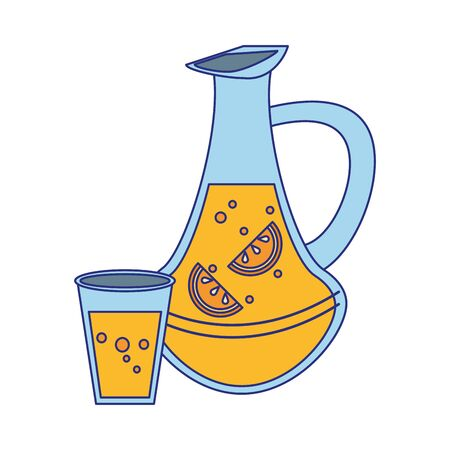 Diseño gráfico del ejemplo del vector aislado de la historieta del jugo y de la taza de la limonada