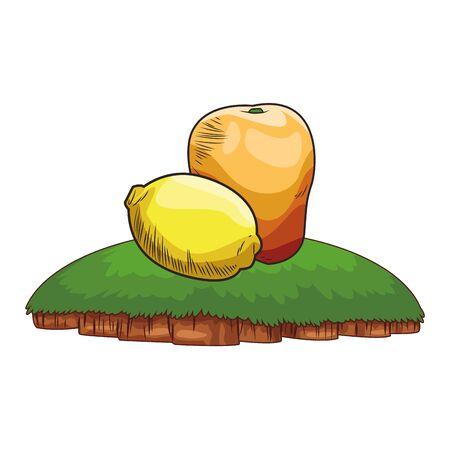 Fresh fruit nutrition healthy grouped lemon and mango fitness diet options grass background frame vector illustration graphic design Illustration