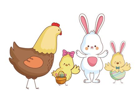 Happy farm animals hen white bunny chicks pair carrying wicker basket carrying wicker basket easter season drawing vector illustration graphic design