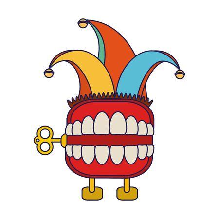 broma de caja de dientes con diseño de dibujos animados de sombrero de bufón