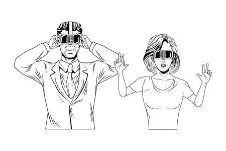 couple wearing virtual reality headset avatar cartoon character black and white vector illustration graphic design