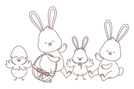 Happy farm animals white bunny carrying wicker basket easter season drawing black and white outline vector illustration graphic design