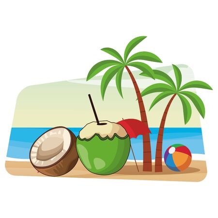 refreshing cold summer drink with coconut cartoon vector illustration graphic design