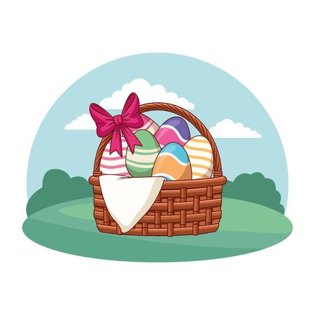 Easter egg basket with ribbon and cloth colorful paint nature background round frame vector illustration graphic design