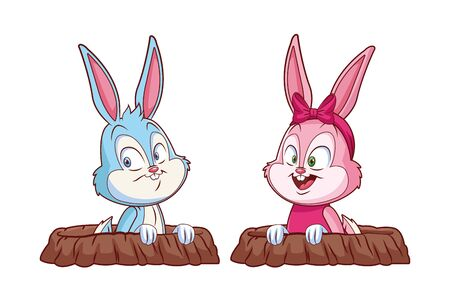 Cute easter bunny happy friends excited peeping out of rabbit hole vector illustration graphic design
