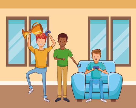 Millennial people gaming party guy sitting on couch playing holding controller using smartphone vector illustration graphic design