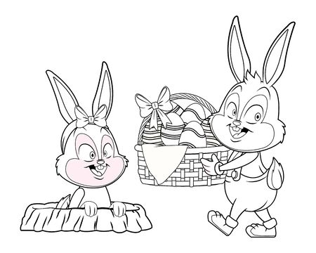 Cute easter bunny happy friends rabbit hole with egg basket black and white vector illustration graphic design