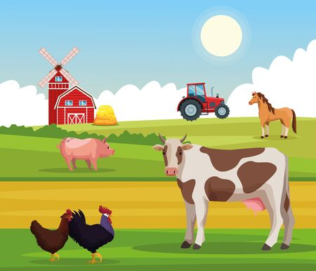 Farm animals in nature with tractor and barn scenery at sunny day