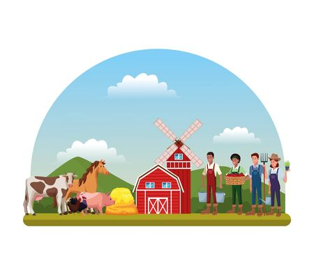 farmers people women and men farmerhouse and animals cartoon vector illustration graphic design