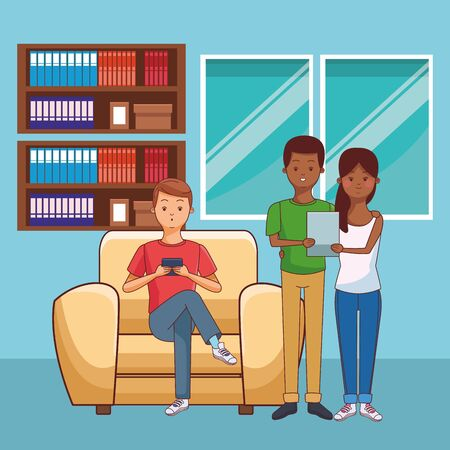 young casual people happy friends using technology smartphone and tablet devices at furniture house room scene cartoon vector illustration graphic design
