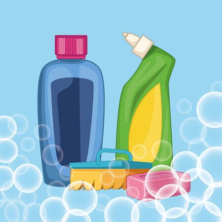 housekeeping cleaning elements products with bubbles and sponge cartoon vector illustration graphic design Ilustração