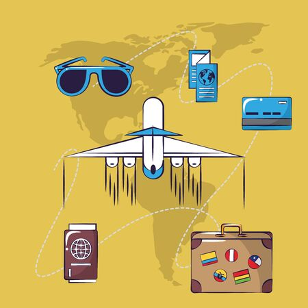 Traveling tourism exciting trip plane tickets passport suitcase card background vector illustration graphic design Çizim