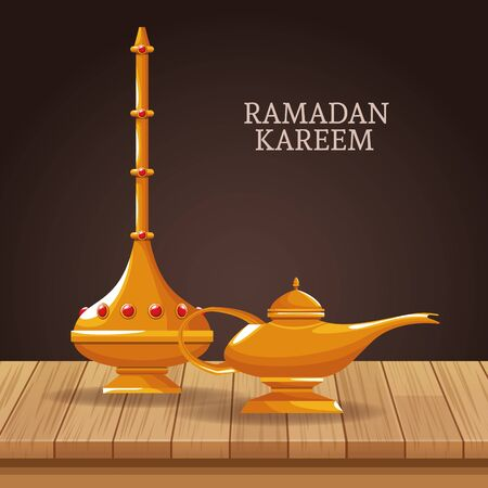 ramadan kareem with islamic symbols vector illustration graphic design