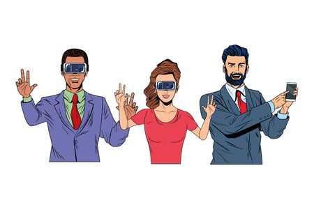 group of people with virtual reality headset and cellphone avatar cartoon character vector illustration graphic design