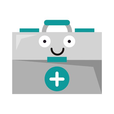 Medical first aids suitcase smiling cute cartoon vector illustration graphic design Vectores