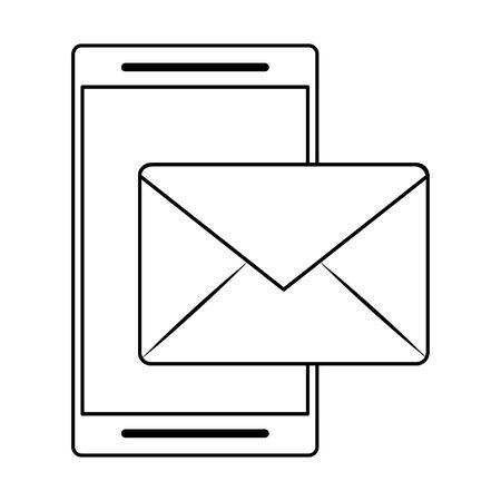 cellphone and envelope icon cartoon vector illustration graphic design Ilustração