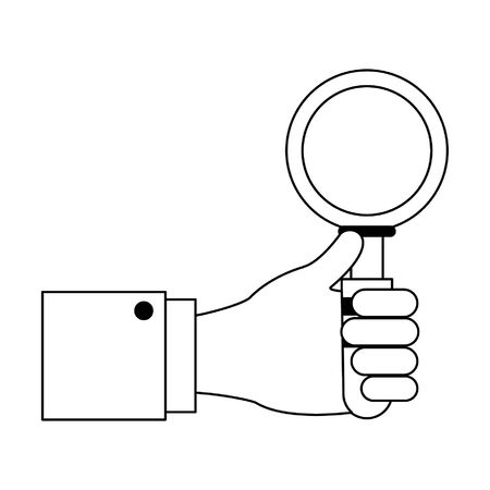 Hand with magnifying glass cartoon vector illustration graphic design