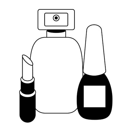 Make up and women fashion beauty perfume bottle nail polish and lipstick vector illustration graphic design