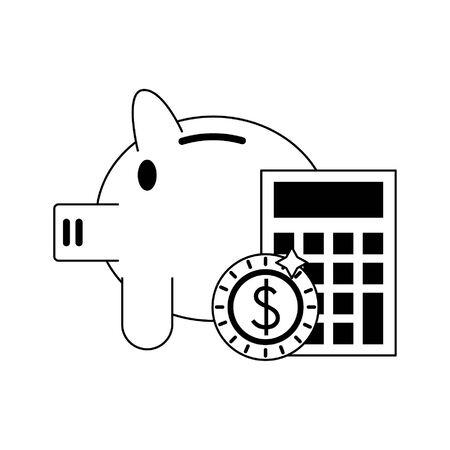 Piggy money savings with calculator vector illustration graphic design