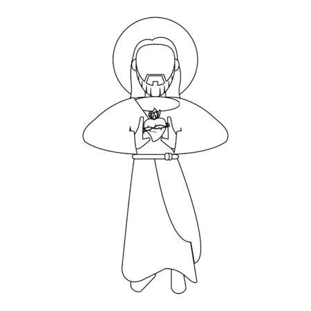 jesuschrist with sacred heart man cartoon vector illustration graphic design