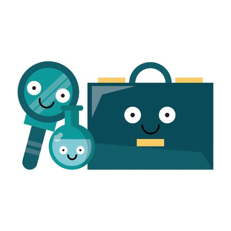 Business briefcase with magnifying glass and flask smiling cartoons vector illustration graphic design