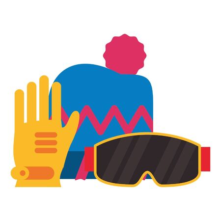 Winter extreme sport equipment beanie hat googles and gloves vector illustration graphic design