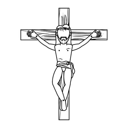 jesus christ man crucified cartoon vector illustration graphic design
