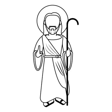 jesus christ with shepherd stick cartoon vector illustration graphic design