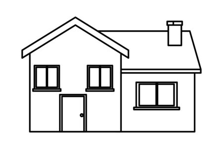 house building icon cartoon black and white vector illustration graphic design Ilustração