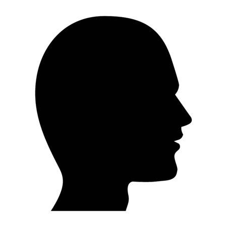 menschlicher Kopf Silhouette Symbol Cartoon Schwarz-Weiß-Vektor-Illustration-Grafik-Design