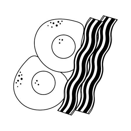 Breakfast morning food sunny eggs with bacon cartoons vector illustration graphic design