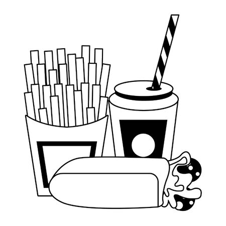 Wrap and french fries with soda cup food vector illustration graphic design Illusztráció