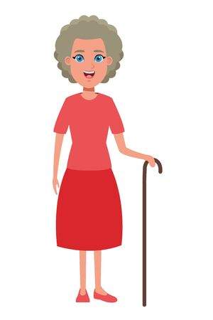 old woman with cane avatar cartoon character portrait vector illustration graphic design