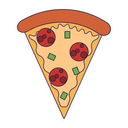 Pizza italian food cartoon isolated vector illustration graphic design