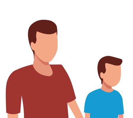 faceless father and son vector icon illustration graphic design