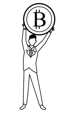 businessman with cryptocurrency icon cartoon black and white vector illustration graphic design