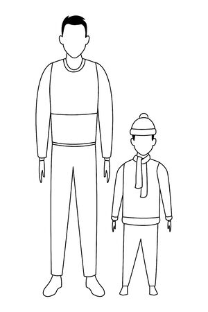 man and child avatar wearing winter clothes with knitted cap and scarf black and white vector illustration graphic design