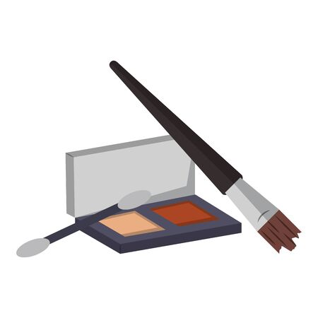 Make up and women fashion beauty eye shadow with brushes vector illustration graphic design